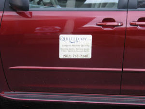 Check out my new Quilted Joy signs for my car!