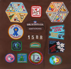 T shirt quilt with scout badges