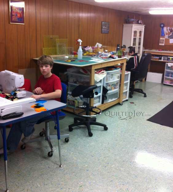 Boys sewing