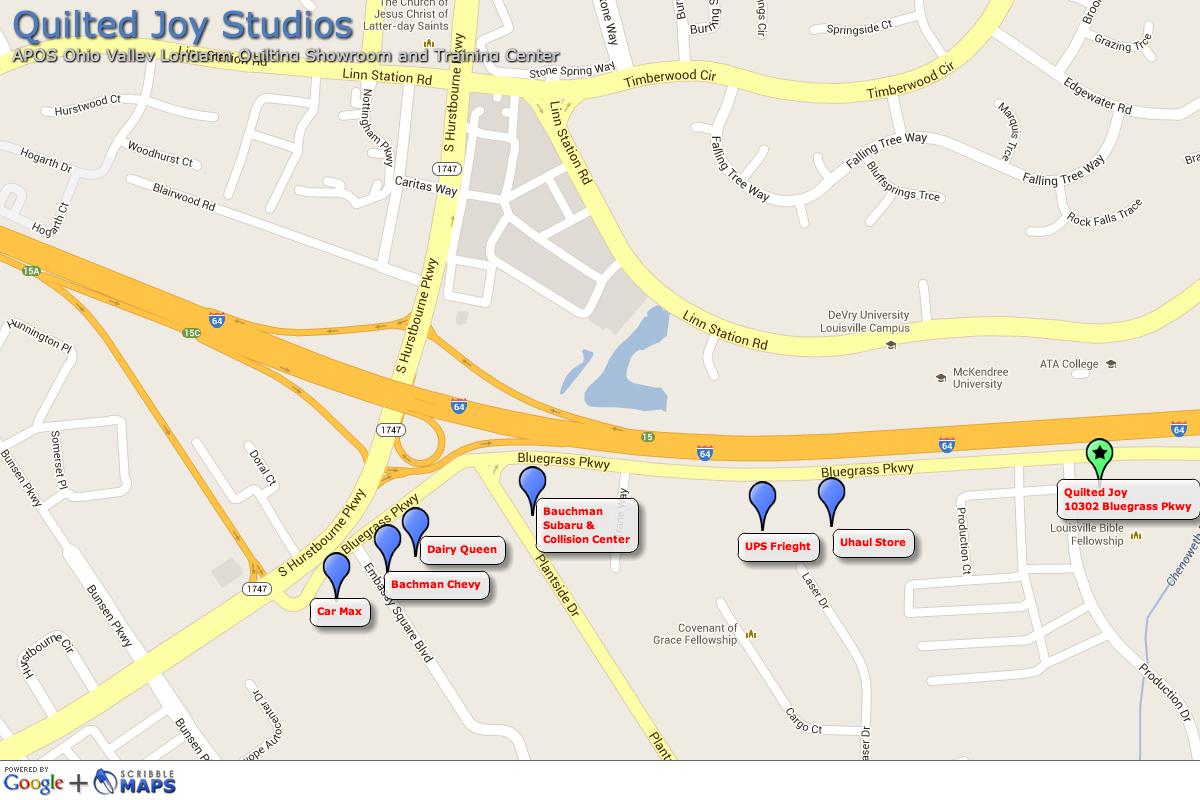 Quilted Joy Studio Map