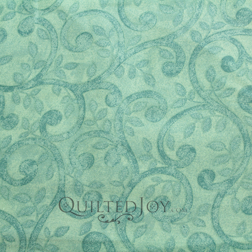 This extra wide 108 inch cotton boasts an elegant scroll pattern repeated in a lush turquoise hue on Benartex Fabric's finest 100% cotton fabric. Available at QuiltedJoy.com