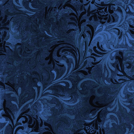 "Flourish in Blue is a 108"" wide back fabric from South Sea Imports. A beautiful tonal fabric with a classic flourishing print. 100% cotton. Available at QuiltedJoy.com"