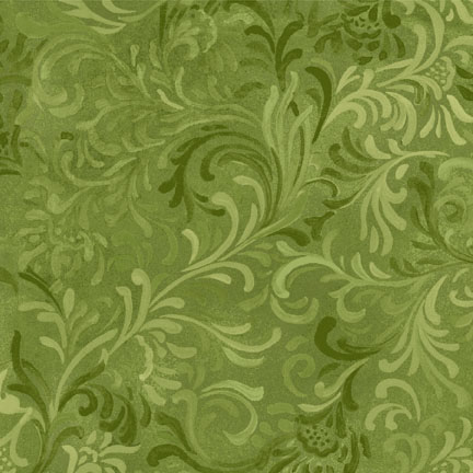 "Flourish in Green is a 108"" wide back fabric from South Sea Imports. A beautiful tonal fabric with a classic flourishing print. 100% cotton. Available at QuiltedJoy.com"