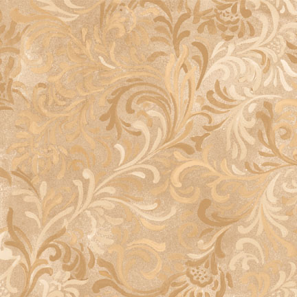 "Flourish in Tan is a 108"" wide back fabric from South Sea Imports. A beautiful tonal fabric with a classic flourishing print. 100% cotton. Available at QuiltedJoy.com"