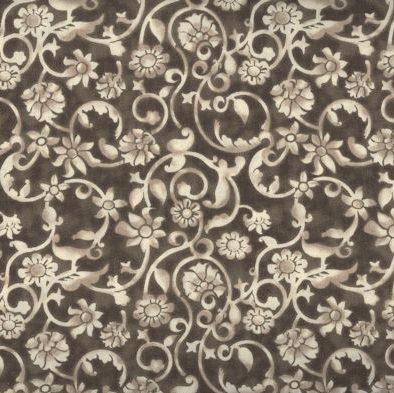 Dense tone on tone floral and vine pattern in brown. Available at QuiltedJoy.com