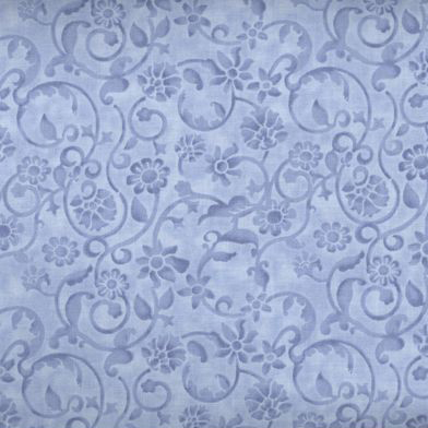 Dense tone on tone floral and vine pattern in Light Blue. Available at QuiltedJoy.com