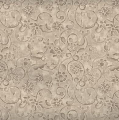 Dense tone on tone floral and vine pattern in tan. Available at QuiltedJoy.com