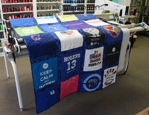 Kentucky Blue TShirt Quilt quilted by Angela Huffman