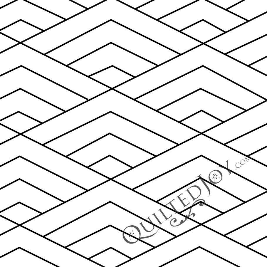 "4""x8"" Diamond Waves Stencil"