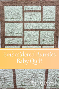 Embroidered Bunnies Baby Quilt with custom quilting by Angela Huffman - QuiltedJoy.com