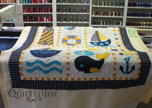Nautical Themed Applique Wall Hanging with quilting by Angela Huffman - QuiltedJoy.com