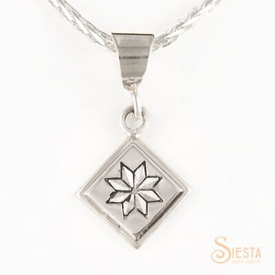 Mini Lemoyne star sterling silver pendant by Siesta Silver Jewelry. Available at QuiltedJoy.com
