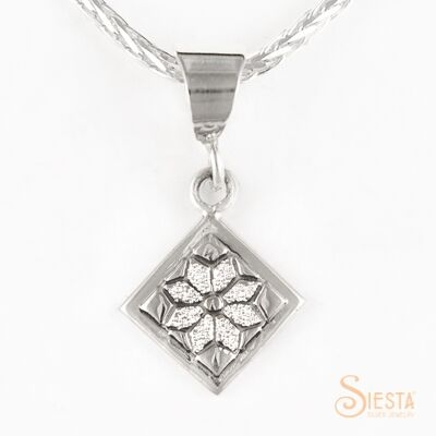 Mini dresden plate sterling silver pendant by Siesta Silver Jewelry. Available at QuiltedJoy.com