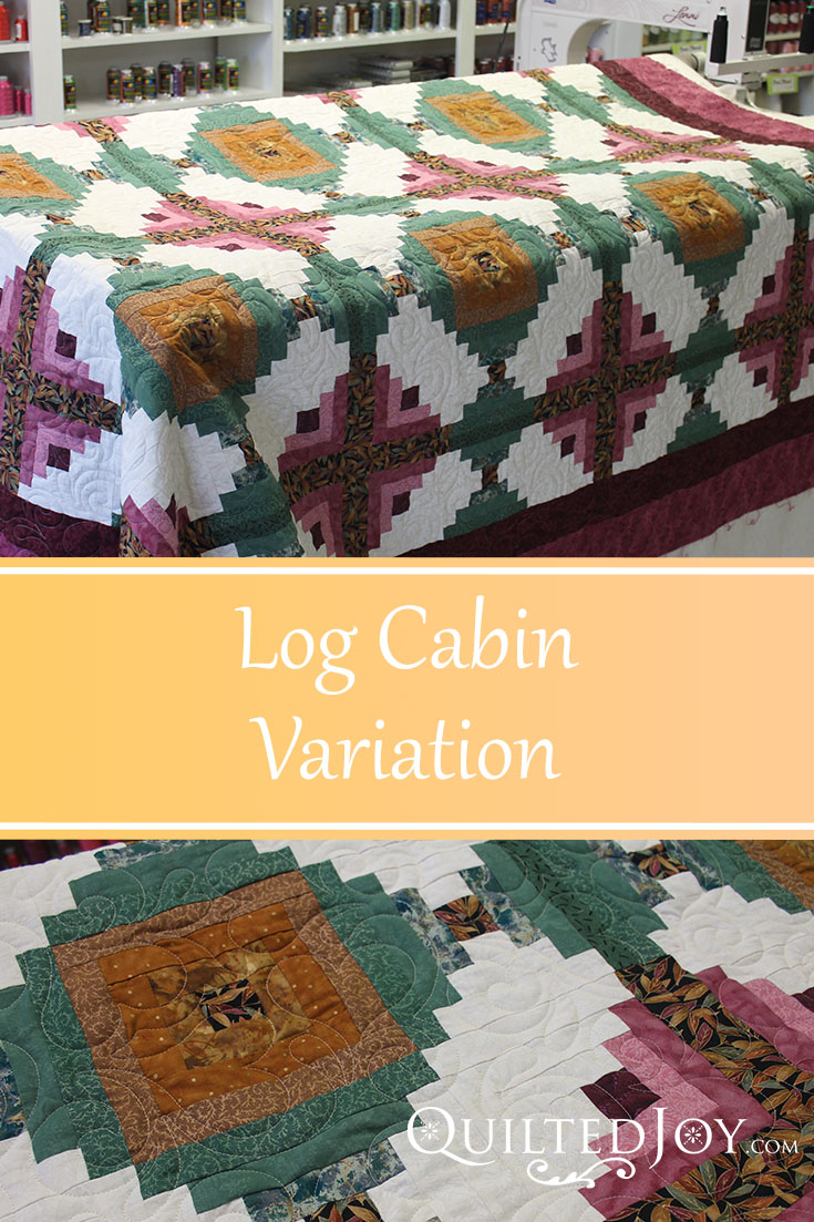 Imogene's Log Cabin Variation with the Splash of Love pantograph. Longarm quilting by Angela Huffman - QuiltedJoy.com