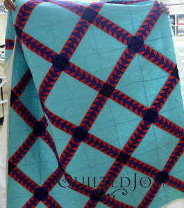 Joel added lots of straight lines using the APQS Millennium's electronic channel locks - QuiltedJoy.com