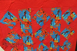 Susan quilted this Spiderman quilt at Quilted Joy!
