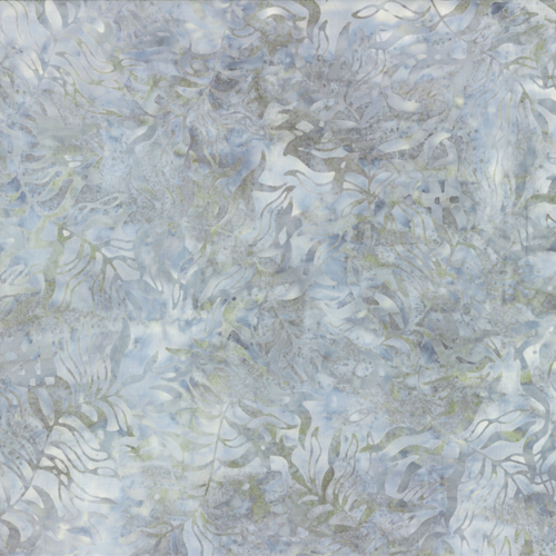 "This lovely 108"" wide batik from Wilmington Prints has a lovely leaf print in different tones of grey."