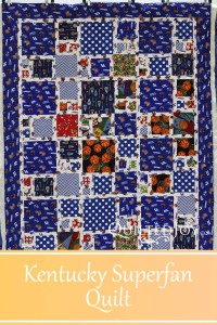 A sporty quilt for a University of Kentucky super fan! Quilting by Angela Huffman with the Pinched Square Spiral pantograph.