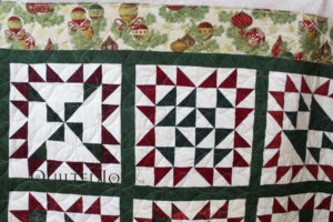 The orange peel quilting design almost looks like ornaments!
