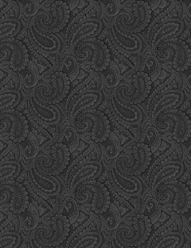"""Paisley Black 108"""" wide quilt back fabric"""