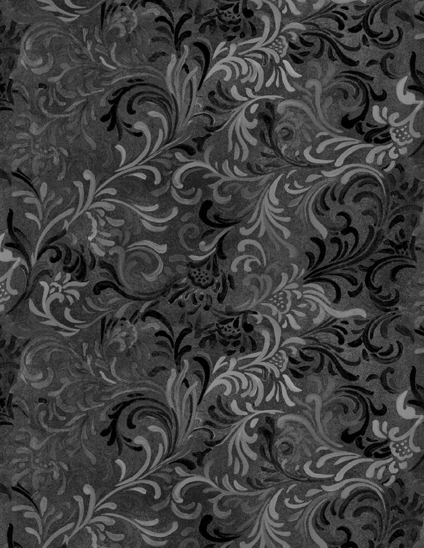 """Flourish in Black is a 108"""" wide back fabric from South Sea Imports. A beautiful tonal fabric with a classic flourishing print. 100% cotton. Available at QuiltedJoy.com"""