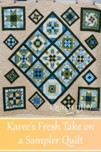 Karee put her blocks on point for a fresh take on a sampler quilt. Quilted by Angela Huffman