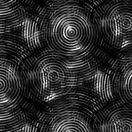 "108"" Wide Back: Black Tonal Grey Ombre Colored Circles"
