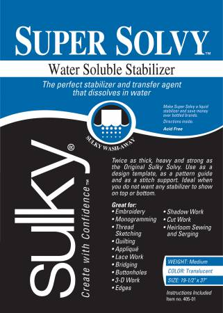 Super Solvy water soluble stabilizer by sulky