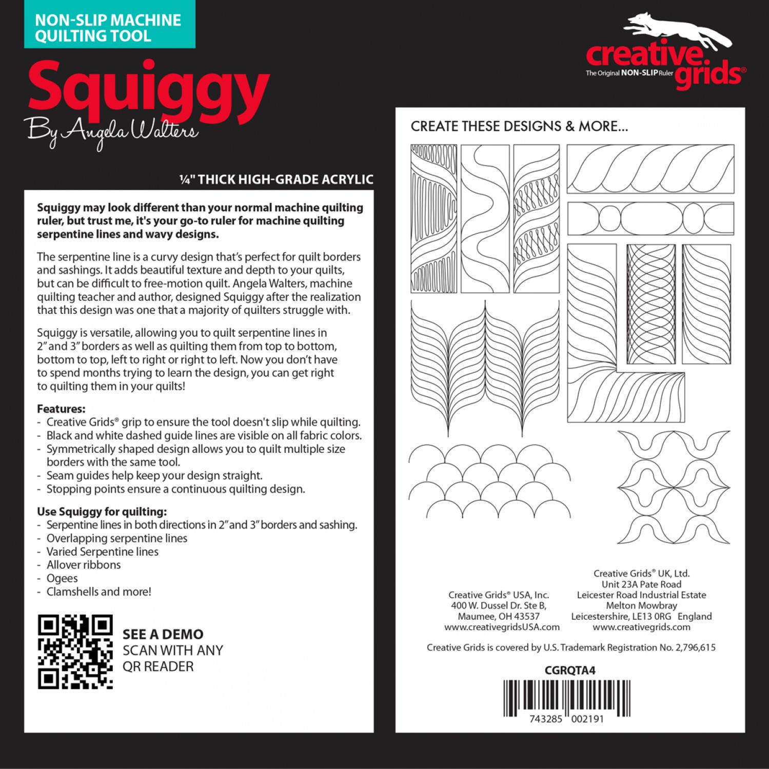 The Squiggy Machine Quilting Ruler will make quilting yummy serpentine lines on your longarm or home sewing machine much easier! Designed by Angela Walters.