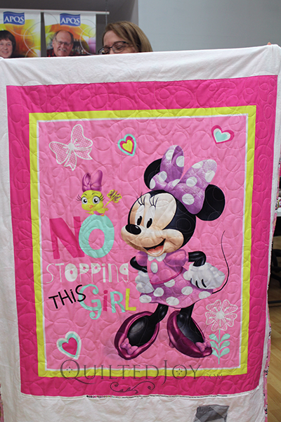 Karen's Minnie Mouse panel quilt is the perfect gift for a little girl or boy!