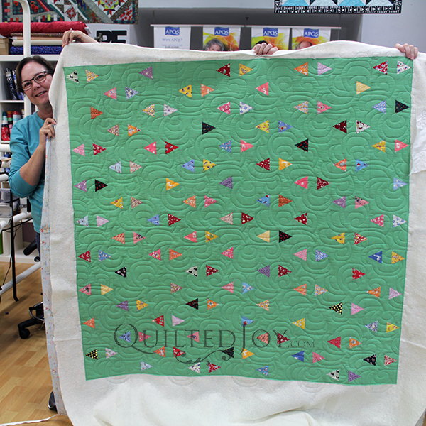 Confetti Quilt, Lynn quilted this cutie for her future grandson!