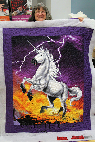 Teri quilted this fun unicorn panel to practice with the APQS Millie longarm quilting machine.
