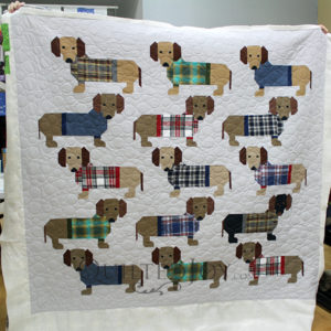 Colleen quilted her Elizabeth Hartman Dogs in Sweaters quilt at Quilted Joy.