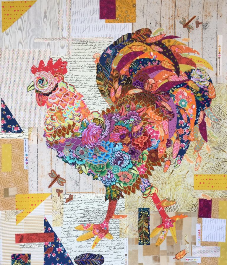Doodle Doo Rooster Fabric Collage Quilt Pattern by Laura Heine