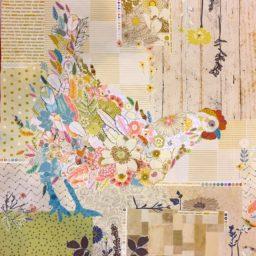 Hen Reitta Chicken Fabric Collage Quilt Pattern by Laura Heine