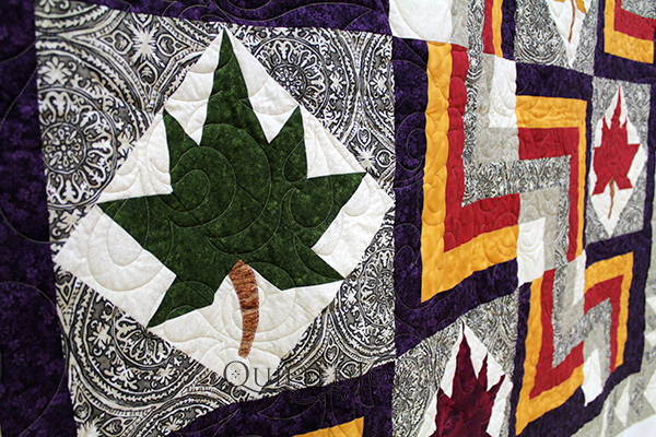Courtney asked me to quilt her gorgeous Leaf Block quilt. I can tell she had lots of fun playing with color, finding the perfect contrast of bold and neutral. She asked me to quilt this with a swirly edge to edge design that balanced the structured rigidity of her quilt.