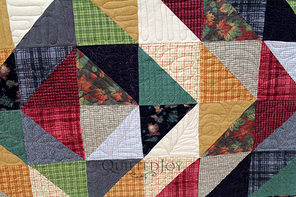 Debbie free motion quilted her flannel quilt on an APQS longarm quilting machine at Quilted Joy.