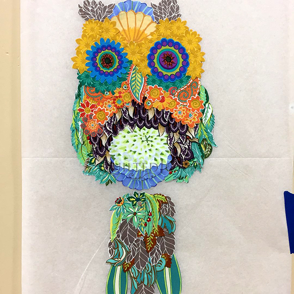 Cora the Common Owl, a Laura Heine Fabric Collage Quilt
