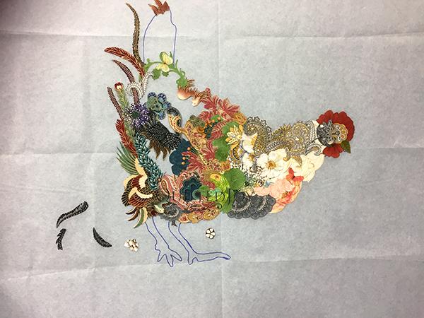 Hen Rietta Chicken, a Laura Heine Fabric Collage Quilt