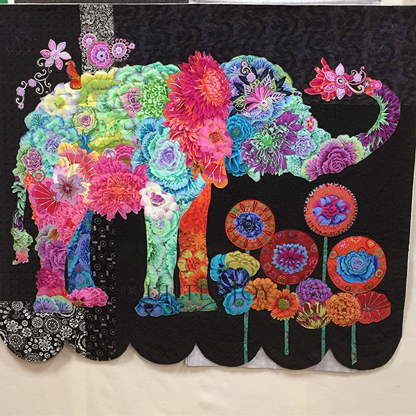 Lulu Elephant, a Laura Heine Fabric Collage Quilt. Quilt made and quilted by Angela Huffman of Quilted Joy