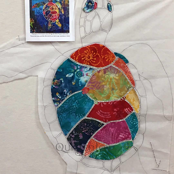 Seawell Sea Turtle, a Laura Heine Fabric Collage Quilt