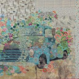 Old Blue Collage Pattern by Laura Heine. 45 x 42 Available at Quilted Joy.com