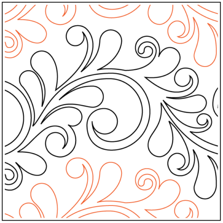"Nemesh Serpentine Feather Paper Pantograph 10"" tall Designed by Bethane Nemesh Available at Quilted Joy.com"