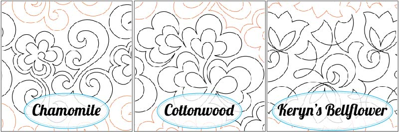 Chamomile Paper Pantograph, Cottonwood Paper Pantograph, and Keryn's Bellflower Paper Pantograph