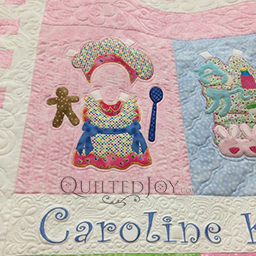 Small Chef Applique block designed by Amy Bradley, longarm machine quilting by Angela Huffman