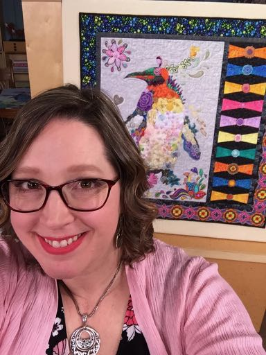 Angela Huffman on the set of Fons & Porter Love of Quilting Episode 3202 All Gussied Up