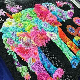 Lulu Elephant Fabric Collage Quilt by Angela Huffman