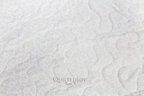 48502-WT Tone on Tone Flower White on Tine wide fabric, quilted