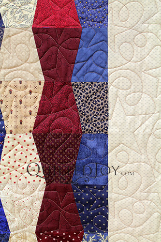 Tumbler Block Quilt Border, Close up of Longarm Machine Quilted Stars