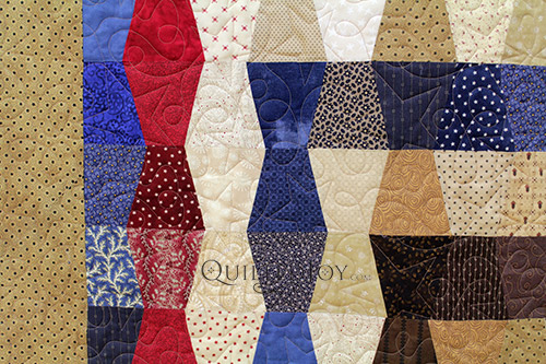 Close up of Patriotic Themed Tumbler Block Quilts